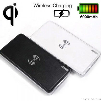 Qi Wireless Charger Transmitter 6000mAh Ultra-Slim Dual USB Leather Shell Lightweight Portable Battery Powerbank