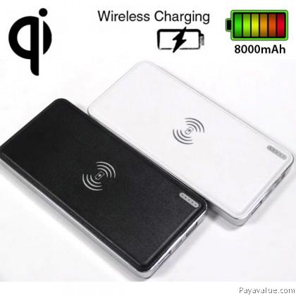 Qi Wireless Charger Transmitter 8000mAh Ultra-Slim Dual USB Leather Shell Lightweight Portable Battery Powerbank
