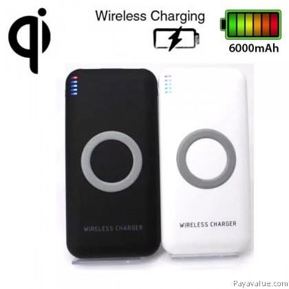 Qi Wireless Charger Transmitter 8000mAh Ultra-Slim Dual USB LED Indicator Lights Portable Battery Powerbank ip8 ipX