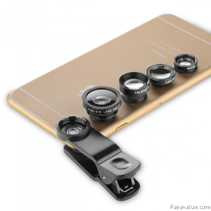 WONEW 6 in 1 Wide Angle / Fisheye / Marco/ Telephoto / Kaleidoscope / CPL Mobile Lens for Smartphone