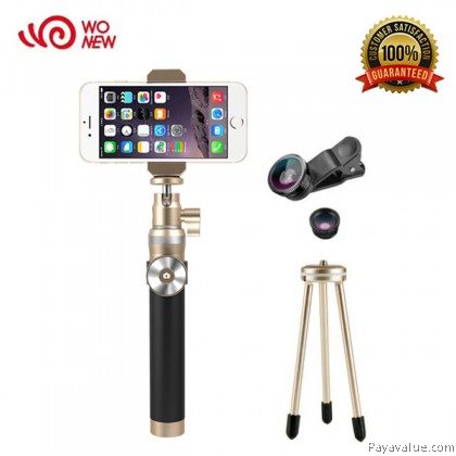 WONEW BR12 Metal Aluminum Luxurious Kingkong Bluetooth Selfie Stick Monopod with Mini Tripod and Lens for IOS and Android - Gold