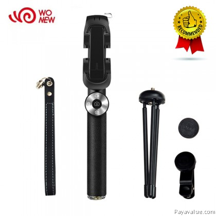 WONEW BR11 Leather Bluetooth Selfie Stick Monopod with Tripod and 3 in 1 Clip Lens for IOS and Android- Black