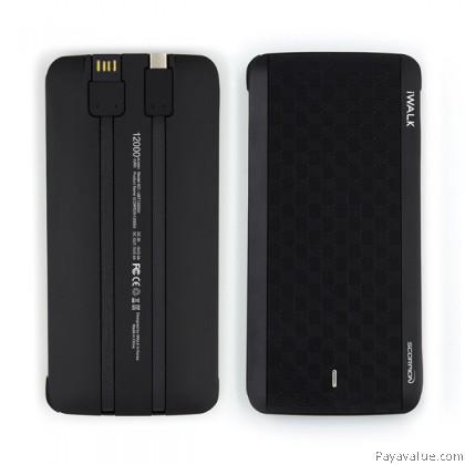 Tcom iWALK Scorpion X 12000mAh Ultra Slim Qualcomm QC3.0 Built-in Lightning, Micro USB, Type-C Cable PowerBank