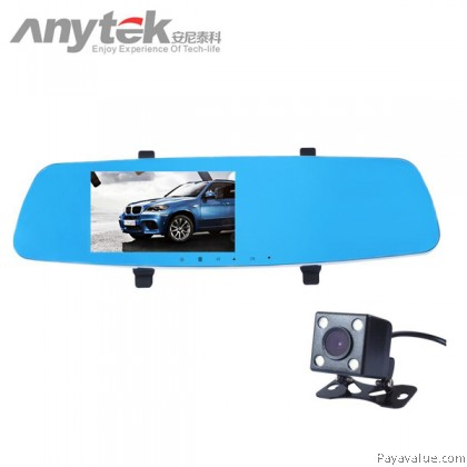 VREC Anytek T10 Dual Camera Rearview Mirror WDR 5.0 Inch 1080P 170° Wide-Angle Night Vision Car DVR Camera Video Recorder