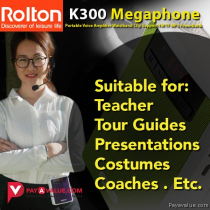 Rolton K300 Megaphone Portable Voice Amplifier Waist Band Clip Wire Mic Support FM Radio TF MP3 Speaker Powerbank for Tour Guides Teachers