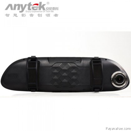 (VREC) Anytek T80 Dual Camera Rearview Mirror 7-Inch IPS FHD Touch Screen 170° Wide-Angle G-Sensor Motion Detection Loop Record Car DVR Camera Video Recorder