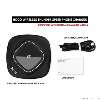 Tcom HOCO CW10 Qi Inductive Wireless Ultra Slim Fast Charger Charging Pad Transmitter for Smartphones Samsung S8 S8+ N5 iPhone ip8 ipX - Black