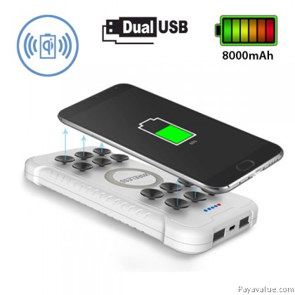 (Tcom) Dual USB 8000mAh Suction Qi Wireless Charger Pad Powerbank