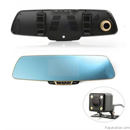 Anytek T6 1080P FHD Car DVR Blue Rearview Mirror Car Camera Dash Cam 4.3inch Screen G-sensor With Dual Lens Registrator