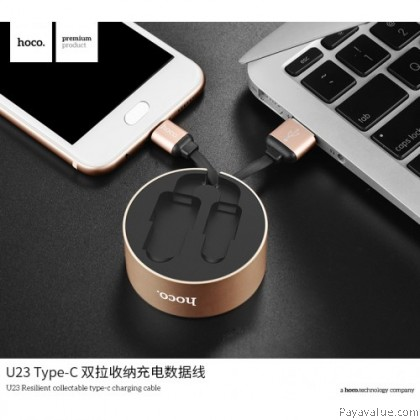 Tcom HOCO U23 Aluminum alloy Micro l Type-C l Lightning USB Resilient Collectable Charging Cable - ORIGINAL