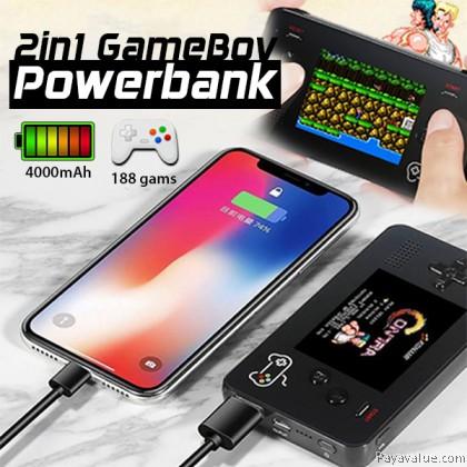 Tcom 2 in1 GameBoy Powerbank 4000mAh Power Bank Build-In 188 Chilhood Games