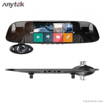Anytek B33 - Rearview Mirror  , 3 Way HD Lens , Monitor Before/ In / Rear - Car DVR