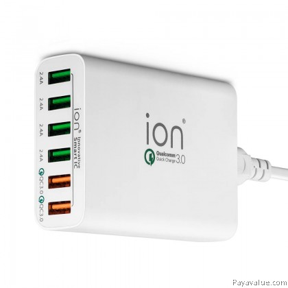 ION QC6 USB 6pt Power Station QC3.0 12A Charger Lifetime Warranty