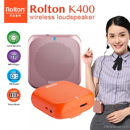 Rolton K400 Mini Fashion Voice Amplifier Waist Band Mic Speaker Powerbank