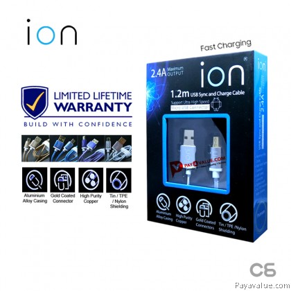 ION C6 Lifetime Warranty Quality Quick 2.4A Micro USB Fast Charge Cable