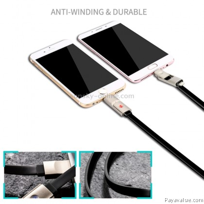 JOYROOM S-T504 1.2m 2.1A Micro USB & 8 Pin to USB Data Sync Charger Zinc Alloy Cable with Breathing Lamp