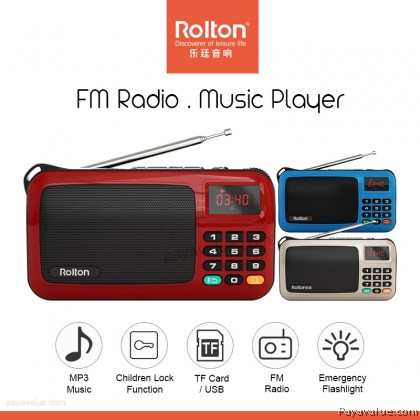 Rolton W405 Portable Mini FM Radio Speaker Music Player with LED Display