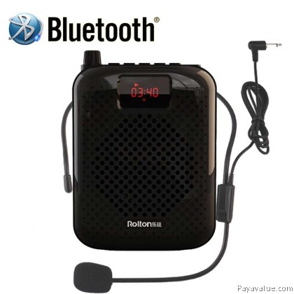 Rolton K500 Bluetooth Megaphone Portable Voice Amplifier Waist Band Clip Wire Mic Support FM Radio TF MP3 Speaker Powerbank for Tour Guides Teachers - Black