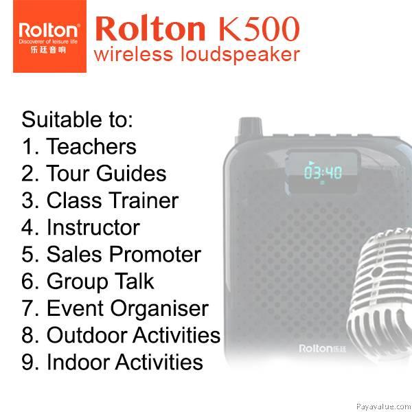 Rolton K500 Bluetooth Megaphone Portable Voice Amplifier