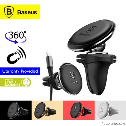 Baseus 360 Degree Rotation Magnetic Air Vent Car Mount with Cable Clip Holder Car Phone Bracket
