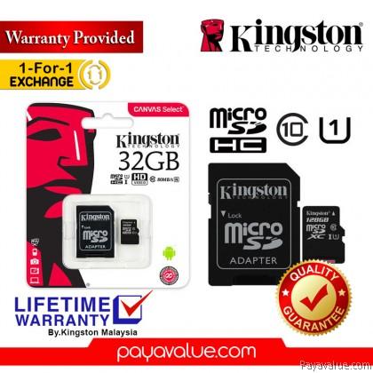 Kingston Canvas Select 16GB / 32GB / 64GB / 128GB / 256GB Class 10 MicroSD Memory Card