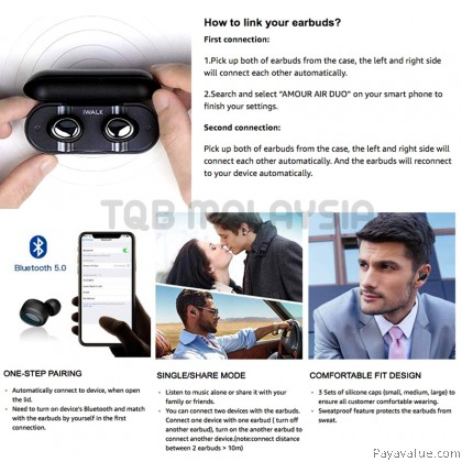 Original iWALK Bluetooth 5.0 True Wireless Earbuds 3D Stereo Sound Headphones Microphone
