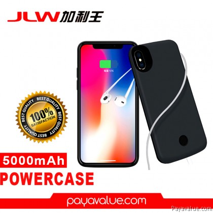 JLW-X2M iPhone X / XS New Upgrade Powercase External Battery Back Case with Apple Earphone Aux Function Support (5000mAh)