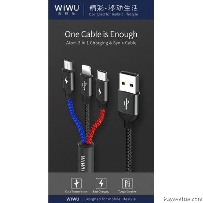 Original Wiwu Atom 3in1 Fast Charging & Sync Cable (1.2M)