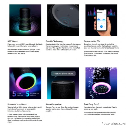Anker Soundcore Flare Portable Bluetooth 360' Speaker with All-Round Sound Enhanced Bass Ambient LED Light IPX7 Waterproof